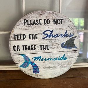 Hand painted on vintage barrel pool sign
